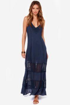 Stay True Crochet Navy Blue Maxi Dress