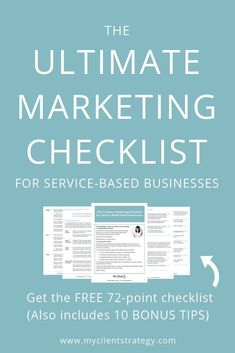 Comprehensive Ultimate Marketing Checklist - including 10 BONUS TIPS! Covers marketing strategy, branding, website optimisation, and marketing communications. Use this free checklist to make marketing your service-based small business easier. Inbound Marketing, Online Marketing Strategies, Marketing Budget, Content Marketing Strategy, Small Business Marketing, Marketing Plan, Marketing Digital, Marketing Communications, Online Business