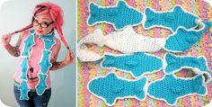 @Twinkie Chan has a new crochet pattern for sale: gummy sharks scarf!