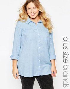 New Look Inspire Longsleeve Chambray Split Side Shirt