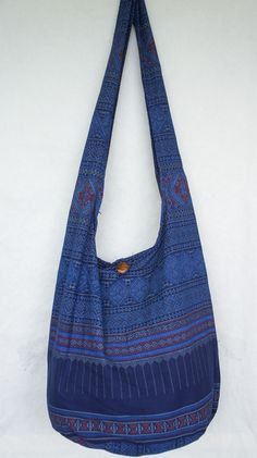 YAAMSTORE thai northern art graphic blue hobo bag sling shoulder crossbody hippie boho purse, $11.99