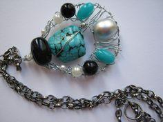 collana con turchese e perle
