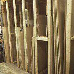 New sheet goods storage rack up in the shop. Time to get organized. Lumber Storage, Storage Rack, Garage Bench, Garage Organization, Getting Organized, Lab, Kindergarten, Shops, Shopping