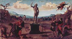 Prometeo plasma l'uomo, dipinto di Piero di Cosimo  Ancora una volta l'Umanesimo esalta i titani ribelli #Leucò/11