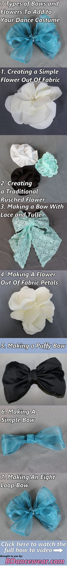 7 types of bows and flowers to add to your dance costume.