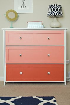 Coral Ombre Dresser - This dresser from @Target was painted in an ombre coral tone! #ombre #dresser