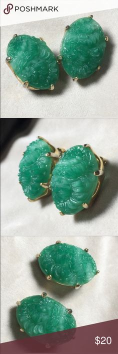 "Vintage Molded Peking Glass clip-on earrings These are gorgeous! In tones of green, beautiful Peking molded glass into a flower design.   Measures 1.25"" X .75"".   Pre-owned vintage: some gold loss. Vintage Jewelry Earrings"