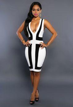 0fdc109b3ba XS-XXL Sexy Bandage Dress New Winter Black White Dress Long Sleeve ...