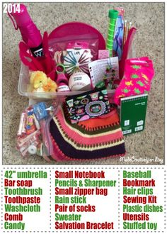 We packed this Operation Christmas Child shoebox for a 10-14 year old girl. In it is an umbrella, clothing, plastic dishes, baseball, Salvation Bracelet, candy, stuffed chick, hygiene items, hair accessories and more! http://www.pinterest.com/madecreatively