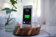 Iphone dock from a piece of wood, by Elizabeth/Scarlet Words