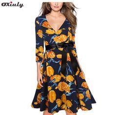 Oxiuly Yellow Flower Print V Neck Vintage Dress Women Loose 2017 Autumn Dresses Three Quarter A Line  Dress with Black Belt