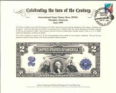 B233 BEP Souvenir Card 1998 IPM $2 Silver Certificate  Intaglio Print