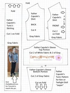 This Renaissance-style tunic pattern fits Ken dolls and all male Twilight dolls (Jasper, Edward, Emmett, and Carlisle Cullen). For a free video tutorial and other patterns, visit ChellyWood.com.