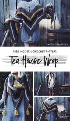 Crochet poncho 560487116124161293 - Tea House Wrap Pattern by Two of Wands using Lion Brand Yarn Heartland Source by carolechookun Modern Crochet Patterns, Crochet Motifs, Shawl Patterns, Diy Crochet, Crochet Crafts, Crochet Projects, Crochet House, Crochet Wrap Pattern, Ravelry Crochet