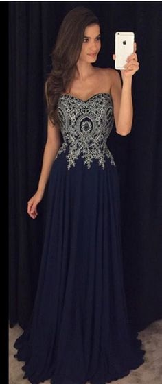 Sweetheart Neck Black Chiffon Prom Dresses Silver Lace Appliqued Bodice Formal Dresses