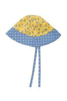 Frugi - Organic Cotton - Reversible Ditsy Hat - Sunflower Daffodil Ditsy (Sizes 0-3yrs)