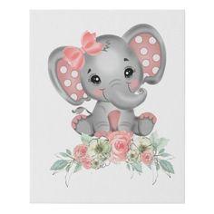 Lienzo De Imitación Niña elefante | Zazzle.com Elephant Wall Art, Elephant Canvas, Baby Girl Elephant, Baby Elephant Drawing, Baby Elephants, Nursery Themes, Nursery Prints, Lama Animal, Decoracion Baby Shower Niña
