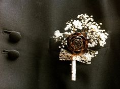 Rustic wedding boutonniere country forest pine cone
