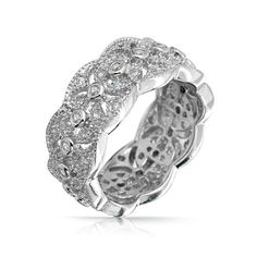 Bling Jewelry Sterling Silver CZ Vintage Four Leaf Band Ring