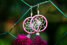 Bright Pink Dream Catcher Earrings by nZuriArtDesigns on Etsy
