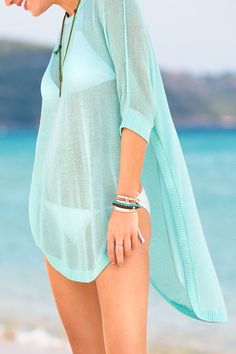 High-Low Hemline Sheer Cover Up