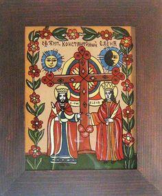 Arta icoanelor pe sticla de la Manastirea Nicula   national.ro Religious Icons, Orthodox Icons, Angels, Holiday Decor, Glass, Frame, Painting, Romania, Picture Frame