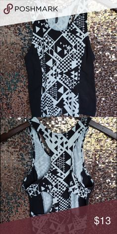 Selling this Black and white geometric print crop top on Poshmark! My username…
