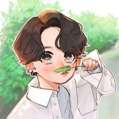 Jungkook Fanart, Jungkook Cute, Kpop Fanart, Rapmon, Art Drawings Sketches Simple, Bts Drawings, Cartoon Wallpaper, Bts Wallpaper, Cute Ferrets