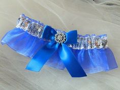 An elegant prom garter silver sequences and royal blue organza- This garter set is embellished with a feather satin bow , centered with a sparkling rhinestone. ~~~ ~~My wedding garter are made-to-ord Lace Garter, Garter Set, Prom Garters, Prom 2014, Wedding Garter, Satin Bows, Floral Centerpieces, Diy Wedding, Wedding Dresses
