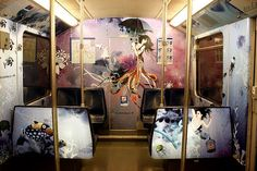 Illustrations on the inside of 2 subway compartments (GVB Zilvermeeuw)