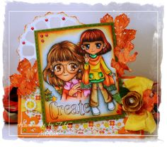 handmadeby tlc Autumn Mindy and Autumn Annie digital stamps colored with Copic, combined png images Copics, Color Card, Digital Stamps, Hand Coloring, Inventions, Annie, Paper Crafts, Princess Zelda, Autumn