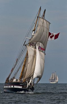 St Lawrence II; At the start of the Tall Ships race from Cleveland, OH.  The Europa is in the distance.