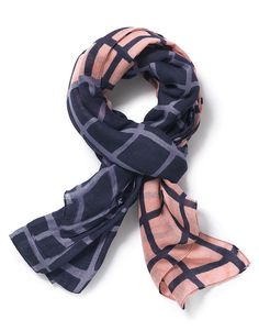 Women's Solid Check Scarf in Cornflower/Pale Blush from Crew Clothing