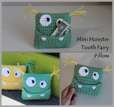 Newest Totally Free Crochet pillow for boys Concepts Mini Monster Tooth Fairy Pillow Crochet Pattern … Instant Crochet Gifts, Cute Crochet, Crochet Toys, Crochet Fairy, Crochet Pillow Cases, Crochet Phone Cases, Yarn Bee, Crochet Monsters, Mini Monster