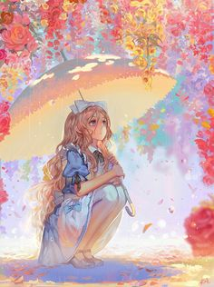 Anime / Manga Alice In Wonderland Colorful Spring Anime Chibi, Kawaii Anime, Art Manga, Chica Anime Manga, Manga Drawing, Manga Girl, Anime Girls, Anime Style, Photo Manga
