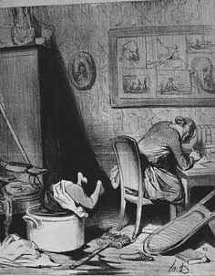 Solitary Dog Sculptor I: Engravings - Grabados: Honore Daumier - Part 16