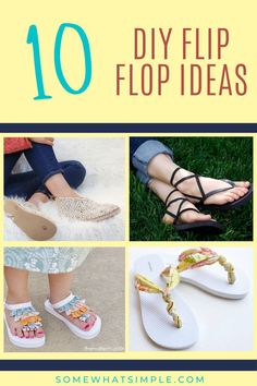 Add some fun to your feet with 10 favorite DIY Flip Flop Ideas! Easy, affordable, and perfect for the summertime! Creative Crafts, Flipping, Decoration, Some Fun, Summertime, Crafts For Kids, Flip Flops, Espadrilles, Diy