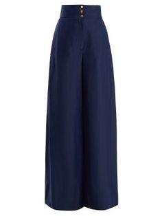High-rise wide-leg satin trousers   | Maison Rabih Kayrouz | MATCHESFASHION.COM