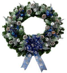 Blue Evergreen Wreath designed by Karen B., A.C. Moore Erie, PA #christmas #wreath