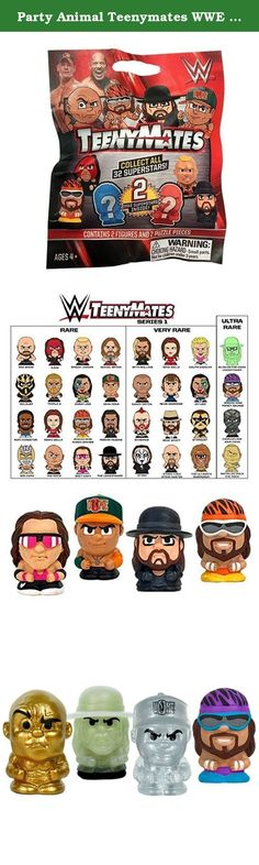 Party Animal Teenymates WWE Series 1 Mini Figure (6 Pack). Product for sale is a set of 6, 4-piece blind packs. Each WWE TeenyMates 4-Piece Set blind pack comes with 2 random WWE figures and 2 random double-sided puzzle pieces. Collect all 28 WWE Superstars and Legends, plus 4 rare figures: A Crystal Clear John Cena Figure, The Rock Figure in Metallic Gold, an alternate Macho Man Randy Savage Figure, and a Glow-in-the-Dark Undertaker Figure. PLUS, collect all 35 puzzle pieces to build a...