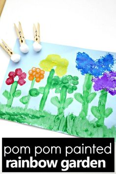Spring is such a fun time to explore flowers for kids. Use this pom pom painted flowers for kids art project to go along with your spring theme or flower activities, or just make it as a fun spring craft for kis. Along the way you'll use pom poms and other fun toolsas you create a beautiful rainbow flower garden. #kidsactivities #spring