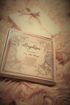 Baptism rose gold foiled boxed invitation