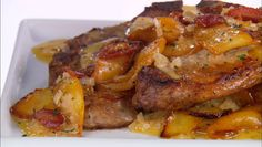 Giada De Laurentiis - Pork Chops with Apples and Pancetta - Thank you Giada!  I also added peaches and pineapples.  GREAT dish.
