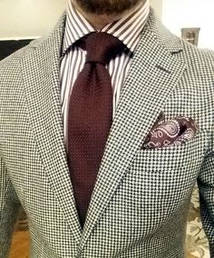 Black and White Houndstooth Havana Suit with burgundy striped shirt (both from Suitsupply) and burgundy grenadine garza grossa tie from Berg&Berg