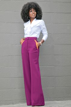 Style Pantry | Ruffled Button Down + Contrast Pockets Wide Leg Pants