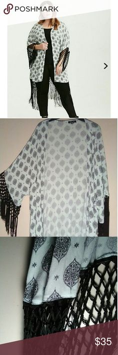 Kimono This Medallion print challis fringe kimono in mint green is a great option to spice up your festival and swimwear outfits  Size 3/4 44-52 waist 54-64 low hip according to torrid sizing chart torrid Other