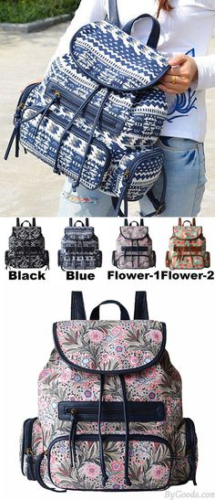Which color do you like? Folk Unique Designed Geometric Totem Colorful Flowers School Bag Draw String Canvas PU Flap Backpack #folk #totem #unique #flower #flap #school #Backpack #bag #college #student #rucksack #travel #cute #girl