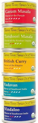 Teeny Tiny Spice Co. of Vermont Organic Indian Spice Blends Variety Pack, Five 2.8 Oz Tins - http://spicegrinder.biz/teeny-tiny-spice-co-of-vermont-organic-indian-spice-blends-variety-pack-five-2-8-oz-tins/