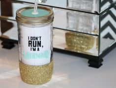 I Don't Run I'm a Mermaid//I'm a Mermaid Cup//Glitter Dipped Mason Jar To Go Cup//Mason Jar Tumbler
