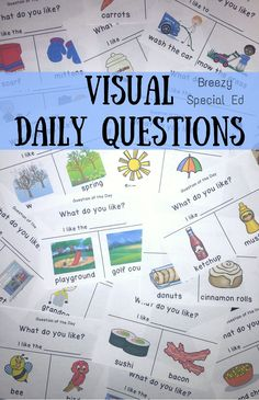 These errorless questions are perfect for morning meeting in my special education class. Visuals help both my readers and non-readers answer the questions. Journals also included as a extension activity. Perfect for all special education classes! Life Skills Classroom, Autism Classroom, Future Classroom, Classroom Ideas, Preschool Classroom, Autism Education, Teaching Special Education, Autism Resources, Gifted Education